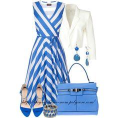 White Blazer and Striped Dress