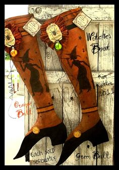 HALLOWEEN Witches Boot Stocking Folk Art Veenas Mercantile