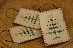 hand-stitched felt ornaments