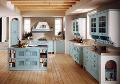 Cucine in finta muratura - Cucina azzurra con isola | Shabby and House