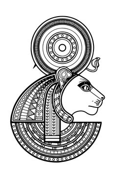 Read all about Sekhmet the Egyptian Goddess of war, destruction and healing in Egyptian mythology, related myths and her association with Hathor Egyptian Mythology, Egyptian Symbols, Egyptian Goddess, Goddess Art, Egyptian Art, Wall Mandala, Coloring Books, Coloring Pages, Adult Coloring