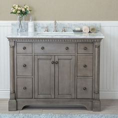 """Features:  -0.75"""" Italian carrara marble top with back splash included.  -Ample storage with 6 functional drawers and 1 shelf.  -Full extension soft-closing drawers and doors.  -Handcrafted furniture."""