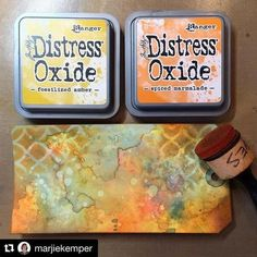 The magic of Distress Oxides is pretty powerful! #timholtz #timholtzdistress #rangerink #Repost @marjiekemper with @repostapp ・・・ Just had my first play with Tim Holtz's new Distress Oxide ink. Wooot! So many options based on your choice of color, amount of H2O, layering, etc. This tag is about 80% Distress oxide and 20% regular Distress ink. Affiliate link in profile. #createeveryday #artwip #mycolorfullife #distressink #distressoxide #colorblending #stencils
