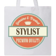 Inktastic Stylist Funny Gift Idea Tote Bag Retired Occupations Job Vintage Logo Clothing Premium Quality Career Reusable Grocery Book Hws, White