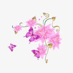 Flores e borboletas cor - de - Rosa DOS desenhos animados, Material De Desenho Animado, Flores, A Borboleta PNG Image and Clipart