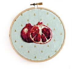 Pomegranate Embroidery Hoop Art