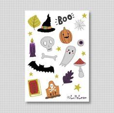 Journal Stickers, Planner Stickers, October, Bullet Journal, Seasons, Tattoo, Halloween, Unique Jewelry, Handmade Gifts