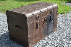 Antique Steamer Trunk Metal Covered Wood Brown  by PanchosPorch, $295.00