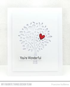 1001 cartes: My Favorite Things January Release Cool Birthday Cards, Handmade Birthday Cards, Greeting Cards Handmade, Diy Valentines Cards, Heart Tree, Mft Stamps, Beautiful Handmade Cards, Handmade Journals, Heart Cards