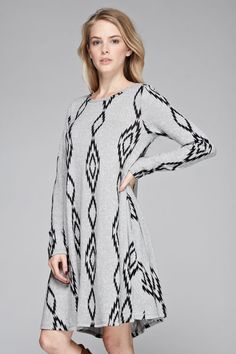 Printed A-Line Tunic Dress - Heather Grey