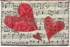 Postcard Valentine three hearts