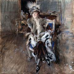 """Giovanni Boldini (Italian, 1842-1931) """"Ritratto di Madame Lacroix"""" 1910"""