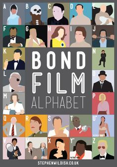 """Graphic designer Stephen Wildish has created a new """"film alphabet poster"""", this time challenging our knowledge of James Bond movies. James Bond Party, James Bond Movies, Estilo James Bond, P Alphabet, Alphabet Posters, Alphabet Charts, Funny Celebrity Pics, Celebrity Pictures, George Lazenby"""