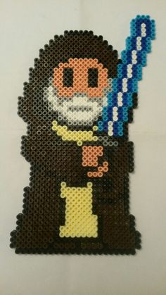Obi-Wan Kenobi - Star Wars hama beads by Tina Hendriksen Perler Beads, Perler Bead Art, Fuse Beads, Pearler Bead Patterns, Perler Patterns, Beaded Cross Stitch, Cross Stitch Patterns, Jedi Ritter, Star Wars Quilt