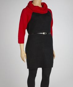 Take a look at this Poppy Red & Black Belted Cowl Neck Sweater Dress - Plus by Extra Touch on #zulily today!