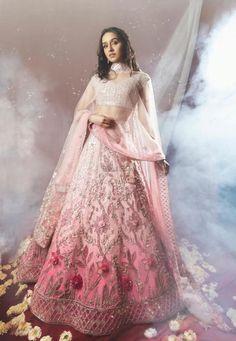 Shraddha Kapoor Bridal Looks For Wedding Functions! Pink Lehenga, Lehenga Choli, Shraddha Kapoor Lehenga, Bollywood Lehenga, Sabyasachi, Indian Wedding Outfits, Indian Outfits, Karisma Kapoor, Designer Bridal Lehenga