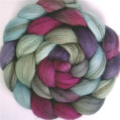 HEATHERED Handpainted BFL Roving in EMILY 4 by GreenwoodFiberworks from Etsy
