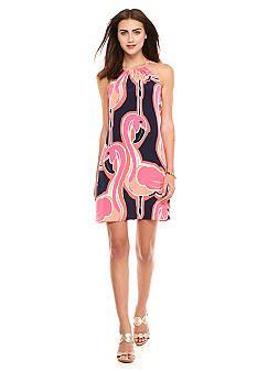 crown & ivy™ Flamingo Halter Shift Dress - Belk.com
