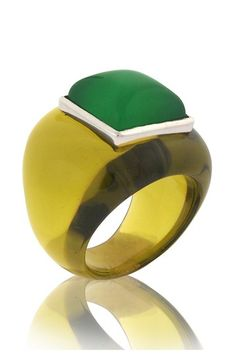 Angelique de Paris Cleo Resin Ring with Agate Face on HauteLook