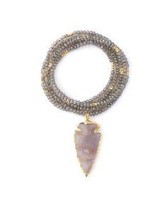 gold & gray jewelry - Smoky Topaz & Arrowhead Necklace
