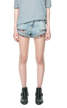 PAINTED VINTAGE STYLE DENIM SHORTS - Jeans - TRF - ZARA United Kingdom