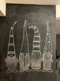Gnome chalk wall Gnome chalk wall ideas, Chalk is this kind of fun way to be creative! Blackboard Art, Chalkboard Drawings, Chalkboard Designs, Chalk Drawings, Chalkboard Ideas, Chalkboard Lettering, Chalkboard Paint, Art Drawings, Christmas Gnome