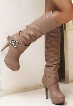 Double Strap Buckle High Heel Knee Boots in BROWN from MooChooShu