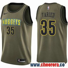 5575a34f6 Men s Nike Denver Nuggets  35 Kenneth Faried Green Salute to Service NBA  Swingman Jersey Will