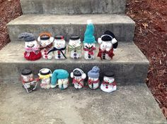 DIY Christmas mason jar snowmen! They are adorable! Mine is the one with a yellow headband, pink belt, and ruffle skirt!