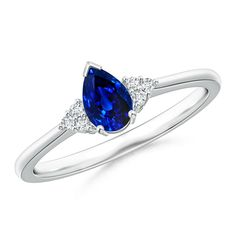 Angara Pave Diamond Contemporary Solitaire Sapphire Ring in 14k White Gold hEcyq
