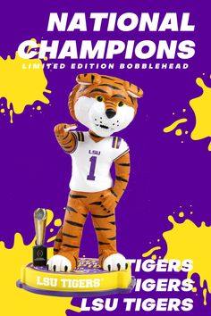 Congratulations to the LSU Tigers on winning the 2019 Pre-order the officially licensed LSU Tigers 2019 NCAA College Football National Champions Bobblehead now. Lsu Vs Bama, Lsu Tigers Football, College Football Playoff, Football Program, Football Baby, Championship Game, National Championship, Football Facemask, Lsu Game