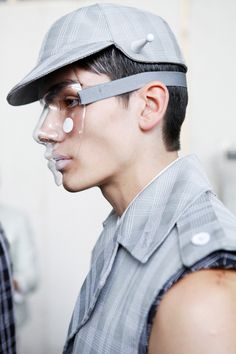 Visions of the Future: Thom Browne Mens collections, Dazed backstage Thom Browne, Mode Cyberpunk, Cyberpunk Fashion, Arte Fashion, Fashion Mask, Steampunk Fashion, Gothic Fashion, Fashion Details, Fashion Design