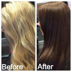 Before & after! Blonde to brunette!