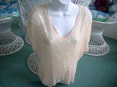 Oleg Cassini 100% silk Cream beaded & Sequin top Size 10 #OlegCassini #Beaded #EveningOccasion