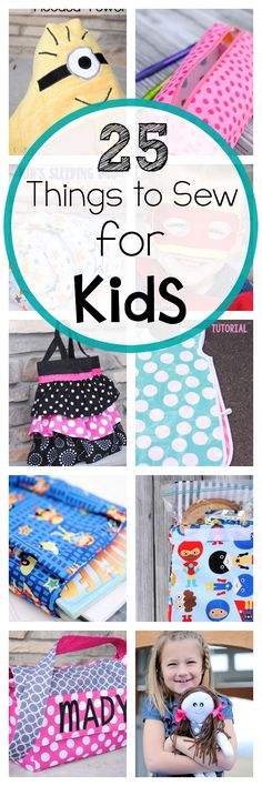 25 Things to sew for kids of all ages-toddlers, preschoolers, kids, teens, and all children .biz cards for sewing lessons Sewing Patterns Free, Sewing Tutorials, Sewing Hacks, Sewing Tools, Sewing Basics, Sewing Ideas, Sewing Class, Love Sewing, Baby Sewing
