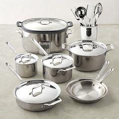 IKEA annons 5 Pièces Cookware Set en Acier Inoxydable Couvercle en Verre Argent 3 casseroles pots
