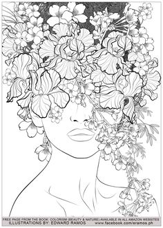 Beauty and nature edward ramos 7 - Zen and Anti stress Coloring Pages for Adults - Just Color Detailed Coloring Pages, Free Adult Coloring Pages, Cute Coloring Pages, Coloring Books, Colouring Pages For Adults, Coloring Pages Nature, Anti Stress Coloring Book, Illustration, Line Art