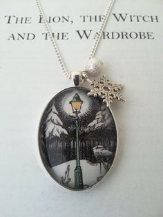 Narnia Lamp Post Bookpage Necklace with by GlamorousGlueDesigns