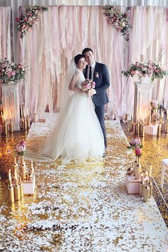 Glam pink and gold Moscow ceremony. Latte Décor + Ajur Wedding.