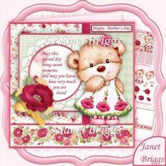 Poppy Bear 7.5 Birthday Mother's Day Decoupage & Insert Mini Kit