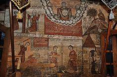 Biserica de lemn din Budești Susani - Pictura naosului: Dumnezeu-Tatăl (sus); Cain îl ucide pe Abel; Adam lucrează pământul şi Eva toarce; Adam şi Eva plâng la poarta raiului (jos)