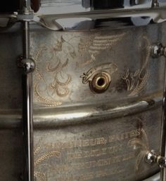 """Joyful Noise 14 x 6.5 Studio Bronze Snare drum. 1 of 1, Hand-made and hand engraved in French: """"Lord, make me an instrument of your peace..."""""""