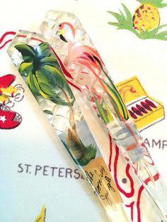 Vintage Florida salad fork spoon set  Monkey Jungle Miami flamingo palm tree hand painted 1950s mid century Floridiana souvenir kitsch