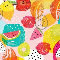 ideas fruit pattern design inspiration colour for 2019 Fruit Illustration, Pattern Illustration, Surface Pattern Design, Pattern Art, Jungle Pattern, Textile Patterns, Print Patterns, Textiles, Fruit Pattern