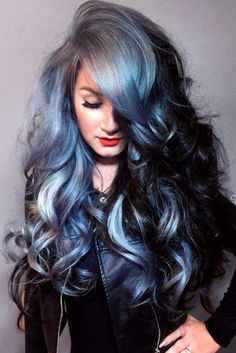 if you are looking grey blue hair color for you and your friends then here you can find the best and new hair color trends as u like. Pelo Color Plata, Princess Hairstyles, Hair Color Blue, Color Black, Trendy Hairstyles, Gothic Hairstyles, Hairstyles Haircuts, Hair Dos, Gorgeous Hair