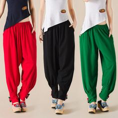 Fashion Casual Ethnic Linen Cotton Women Wide Long Harem Pants 2016 Summer  Loose Elastic Waist Ladies 094a788ed81bd