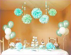Tiffany Blue Bridal shower decor idea - balloons and hanging pompoms {Courtesy of eduudle}