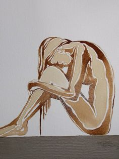 Painted on canvas with coffee- Title : Sometimes it seems so difficult - size 30xh40cm (sold)
