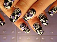 Scenery isn't, however, the only choice you have when it has to do with tropical nails. Working with the all-natural shape of your nails is a far simpler approach to approach nail art. Nice nails are extremely important decoration of hands. Skull Nail Designs, Skull Nail Art, Creative Nail Designs, Creative Nails, Holiday Nail Designs, Holiday Nail Art, Halloween Nail Designs, Sugar Skull Nails, Sugar Skulls