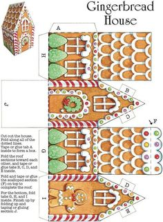 gingerbread house template Easy Christmas Crafts: 12 Holiday Cut & Make Welcome to Dover Publications Easy Christmas Crafts, Christmas Printables, Christmas Projects, Simple Christmas, Christmas Decorations, Modern Christmas, Christmas Gingerbread, Noel Christmas, Christmas Paper